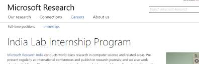 Microsoft Research India Lab Internship Program India Armacad