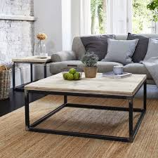 reclaimed wood coffee table with raw steel box framerust inside box frame coffee table