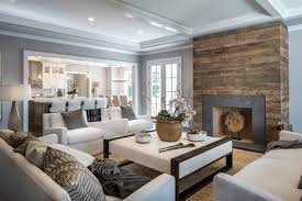 living room with reclaimed wood fireplace