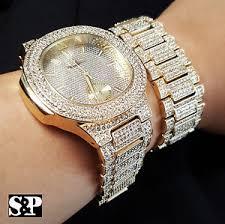 image is loading new men iced out hip hop gold pt