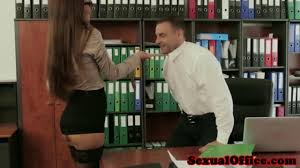 Brunette secretary Antonia Sainz fucks her boss over time on.
