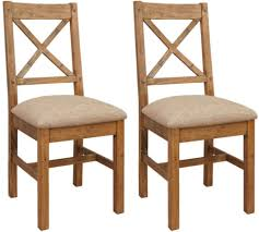 cross back dining chairs. Camrose Reclaimed Pine Cross Back Dining Chair - Cushion Seat (Pair) Chairs