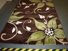 brown and lime green rug