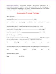 Construction Proposal Template 4 Best Sample