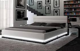 White modern platform bed Modern American La Furniture Store Infinity Contemporary White Platform Bed W Lights