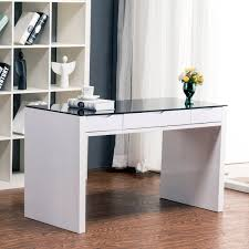 Contemporary Computer Desk White Rectangle Shape Black Transparent Glass  Top Wood Construction Drawer Under Work Surface ...