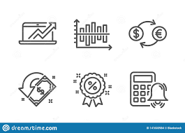 Currency Exchange Chart Diagram Chart Currency Exchange And Discount Icons Set