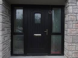 black glass front door and black front door with double glazed side panels 9