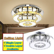 crystal led light modern round ceiling chandelier lamp pendant living room uk