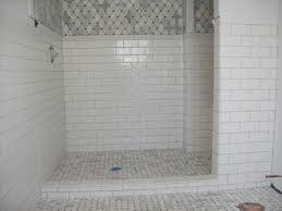 Tile For Bathroom Shower Walls Marble Tile Shower Floor With Ceramic Subway Tile On The Walls