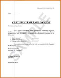 Example Of A Certificate Of Employment Example Of Certificate Of Employment With Salary Platte Sunga Zette