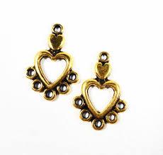 chandelier earring components luxury gold heart earring findings 19x13mm antique gold heart