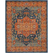 safavieh evoke blue orange 8 ft x 10 ft area rug evk275c 8 the home depot