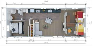 Illustration Of The Interior Floor Plan For The 3 Bedroom Tiny Home With  Bathroom Showing Bedrooms