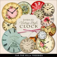 vintage style clock. Beautiful Style New Freebies Kit Of Vintage Style Clock And O