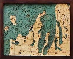 West Galveston Bay Depth Chart Grand Traverse Bay 3 D Nautical Wood Chart 16 X 20
