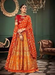 Engagement Lehenga Designs 2018 Light Orange Designer Wear Indian Lehenga Choli For
