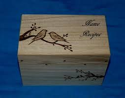 Decorative Recipe Box Decorative Personalized Love Birds Wood Wedding Recipe Card Box 2