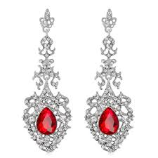 elegant women rhinestone long drop chandelier earrings wedding