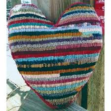 beginner rug hooking kit heart pillow