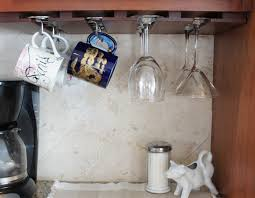 Coffee Cup Rack Under Cabinet Slide On The Hook Into A Stemware Wine Glass Rack For Under