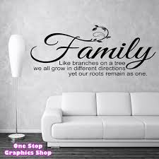 family like branches wall sticker  on wall art family tree uk with family like branches on a tree wall art quote sticker bedroom