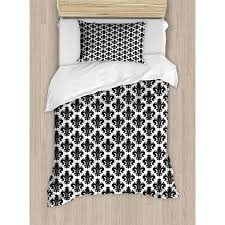 bedding with fleur de lis pattern. Modren Bedding Fleur De Lis Twin Size Duvet Cover Set Monochrome Royal Lily Pattern  Victorian Inspiration Ornamental And Bedding With