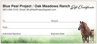 Oak Meadows Ranch Gift Certificate Oak Meadows Ranch Wildomar