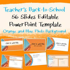 Blue And Orange Powerpoint Template Teachers Back To School Powerpoint Template Orange And Blue Photo Background