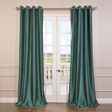 peacock grommet blackout vintage textured faux dupioni silk curtain