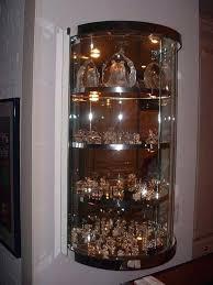 custom bent glass wall hung display case ornament wood crystal repair