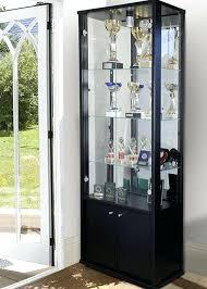 double door glass display cabinet with storage black doors knobs uk wi