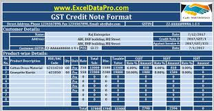 Goods Received Note Format Impressive Download GST Credit Note Format In Excel Issued Against Goods Return