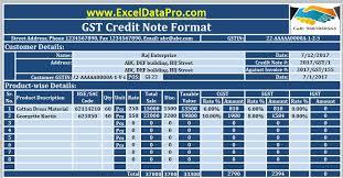 Credit Memo Letter Stunning Download GST Credit Note Format In Excel Issued Against Goods Return