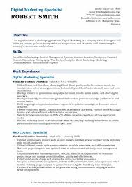 Resume Specialists Digital Marketing Specialist Resume Samples Qwikresume