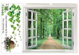 huge window 3d green view flowers plant wall stickers art mural decal wallpaper intl