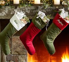 Velvet Stocking - Green with Red Cuff | Pottery Barn