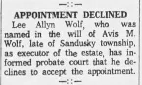 Lee Wolf declines as executor of Avis Wolf estate - Newspapers.com