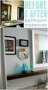 diy bathroom makeover with fresh gray paint penny tile backsplash floating wood shelf