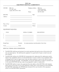 Rental Contract Template Word Equipment Lease Agreement Template Word 19 Equipment Rental