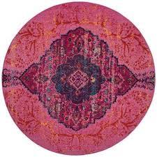 artisan fuchsia multi 7 ft x 7 ft round area rug