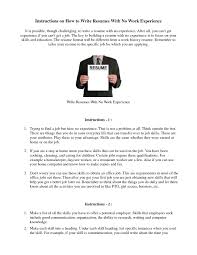How To Write A Resume When You Have No Experience Free Resume