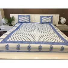 double size indian cotton white and blue block print bed sheet