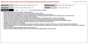 Bill And Account Collector Resume Resumes Templates