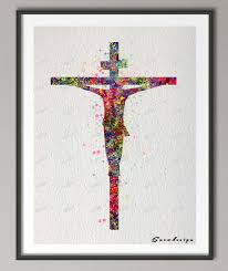 diy original watercolor on the cross canvas painting pop wall art poster print pictures for living room home decor sticker in painting calligraphy