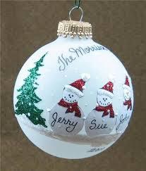 Decorating Christmas Ornaments Balls Personalized Snowman Family Glass Christmas Ball Ornament FUN 3