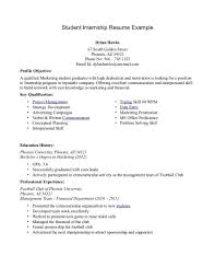 Resume For Internship Example Examples Of Resumes
