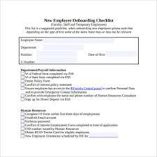 Sample Orientation Checklist For New Employee Sample New Hire Orientation Checklist