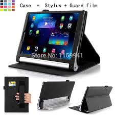 for lenovo yoga tablet 2 10 inch 1050 1051 slim folding leather stand case cover elastic hand strap stylus id holder