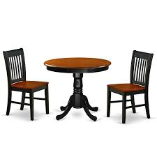Shop Round 36 Inch Table And Wood Seat Chairs Kitchen Set In Black